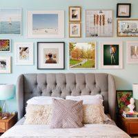 Décoration murale dans la chambre avec des images et des photos