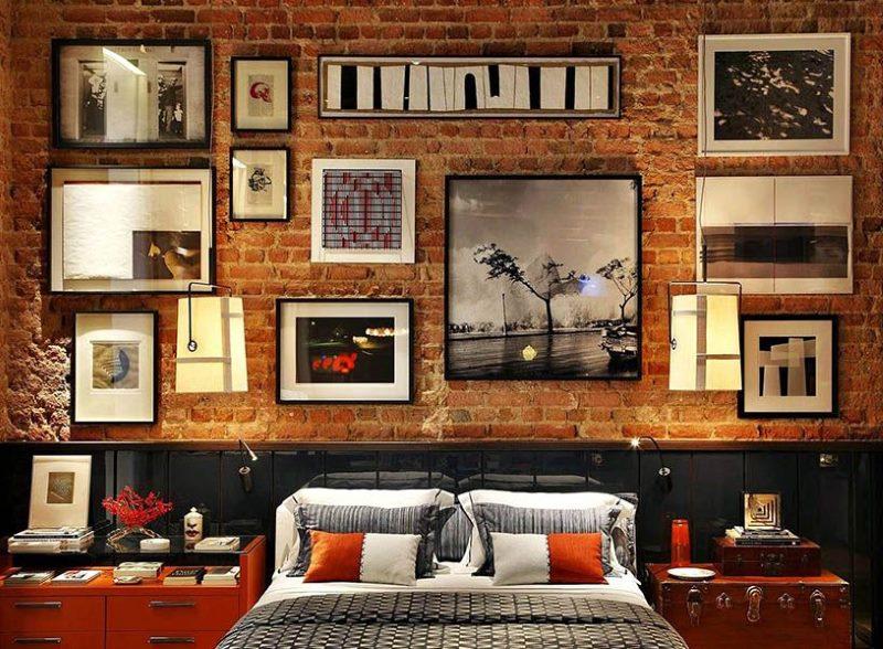 Bēniņu stila guļamistabas sienu apdare