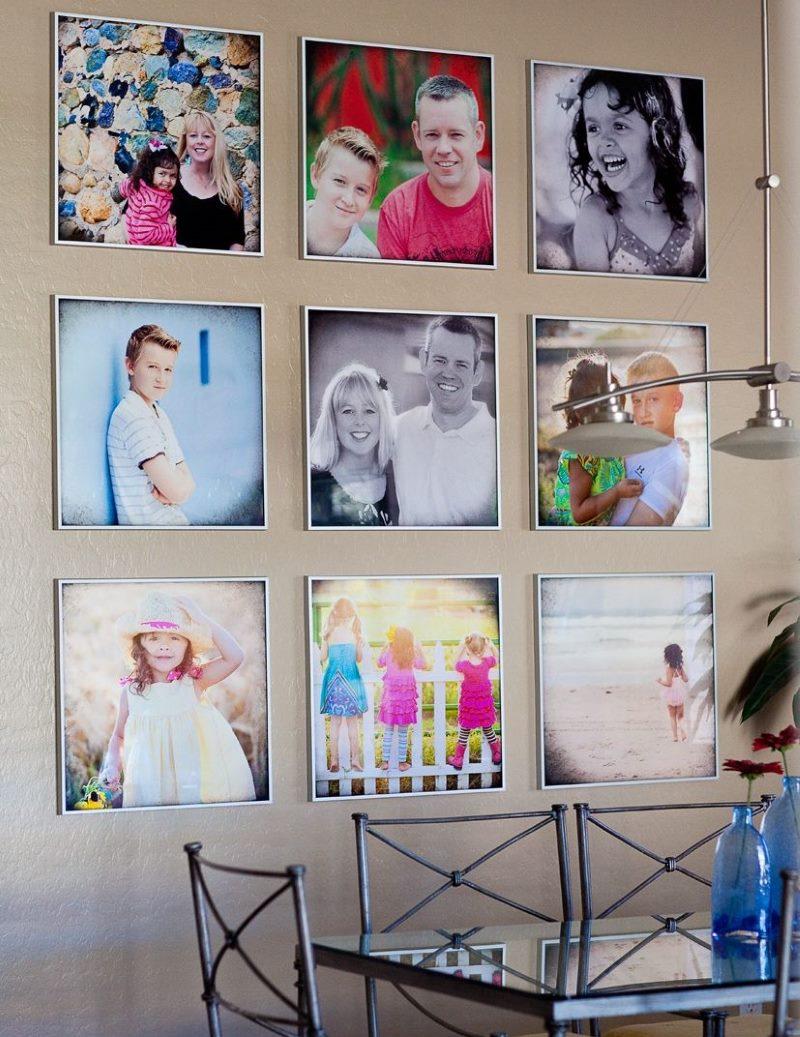 Virtuves sienas dekors ar ģimenes fotogrāfijām