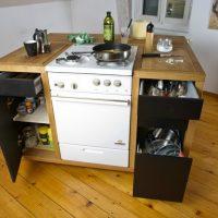 Îlot de cuisine mobile avec cuisinière à gaz