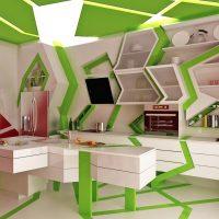 Set de cuisine blanc-vert de forme irrégulière