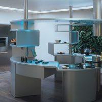Conception de cuisine ronde dans un style moderne.