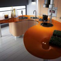 Comptoir orange pour îlot de cuisine