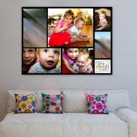 Uz sienas viesistabā ir krāsainu bērnu fotogrāfiju panelis