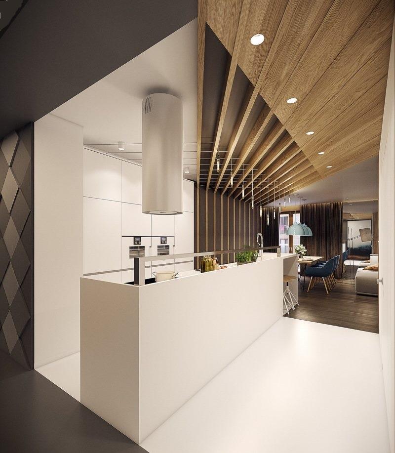 Conception de cuisine avec plafond inhabituel