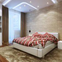 Dizaina guļamistaba ar paklāju uz grīdas