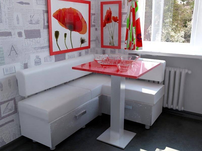 Table de cuisine avec des comptoirs rouges