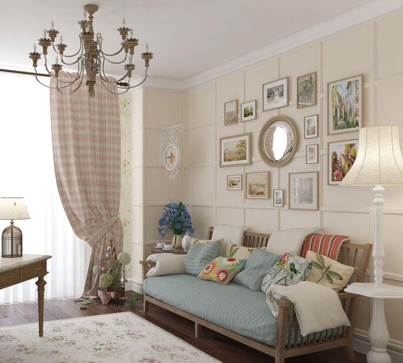 Provansas stila viesistabas sienas dekoru attēli