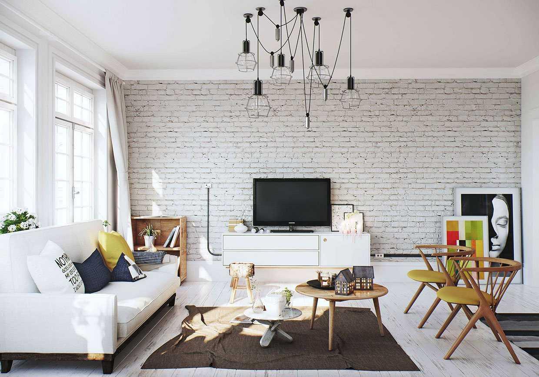 Tágas nappali kialakítás fehér tégla falakkal