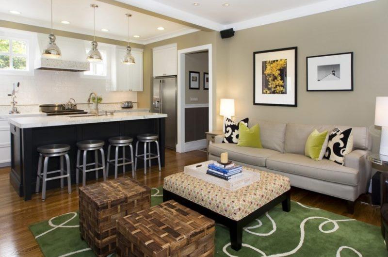 Zonage de la cuisine-salon avec un tapis