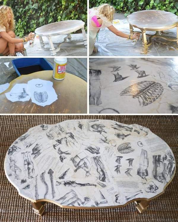 Kafijas galda dekorēšanas process, izmantojot dekupāžas paņēmienu