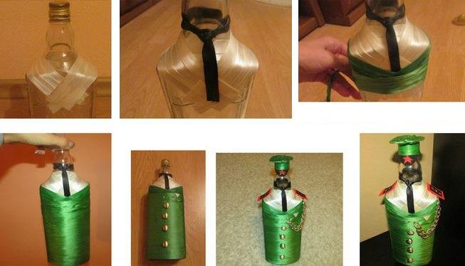 Procedūra pudeļu dekorēšanai ar satīna lentēm