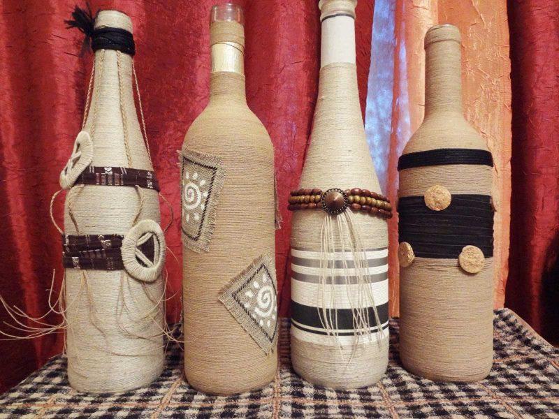 DIY vītņu tukšo pudeļu dekors