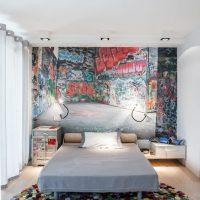 Grafiti pusaudža guļamistabas interjerā