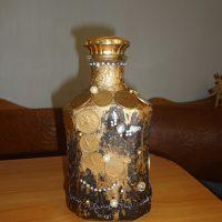 DIY pudeles dekors ar monētām