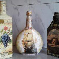 DIY dekupāžas pudeles