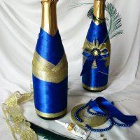 Šampanieša dekori ar satīna lentēm