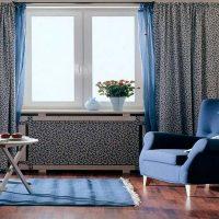 Fabric screen on heating radiator
