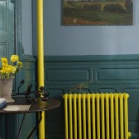 Yellow battery in the living room interior