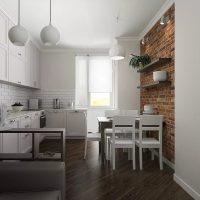 Fehér konyha barna padlóval