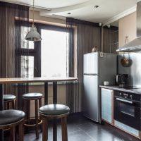Conception de cuisine avec des rideaux