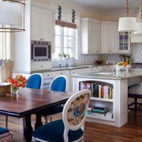 Chaises de cuisine rembourrées bleu