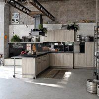 Racks à l'intérieur d'une cuisine de style loft