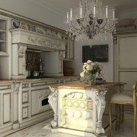 Intérieur de cuisine chic dans un style historique