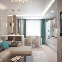 Cuisine salon avec des accents turquoise