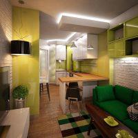 Disposition d'une étroite cuisine-salon