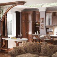Conception d'une cuisine-salon avec des meubles en bois