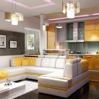 Lumières élégantes au plafond de la cuisine-salon