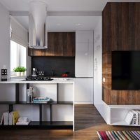 Péninsule de cuisine avec étagères