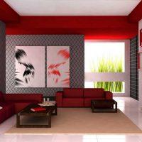 Червен цвят в интериора на хола