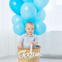 Panier avec ballons pour un garçon d'un an