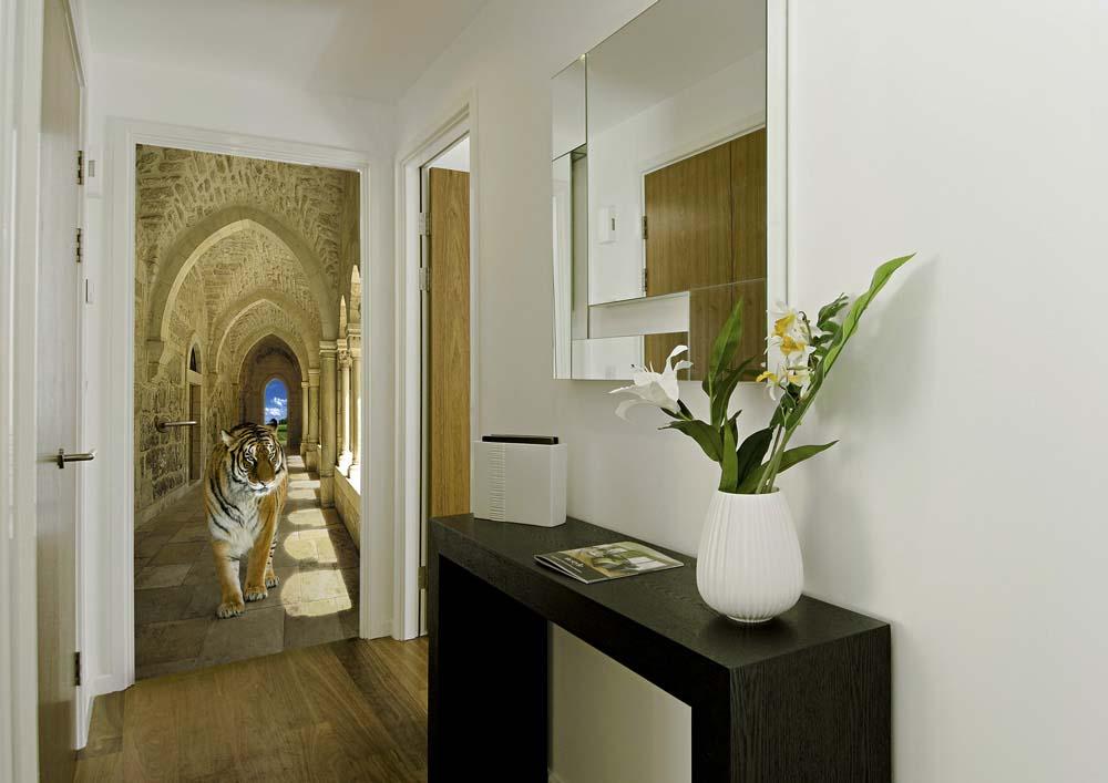 Реалистични фототапети в тесен дизайн на коридора