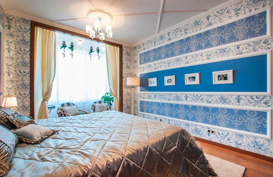 Пример за хоризонтална комбинация от тапети в спалнята
