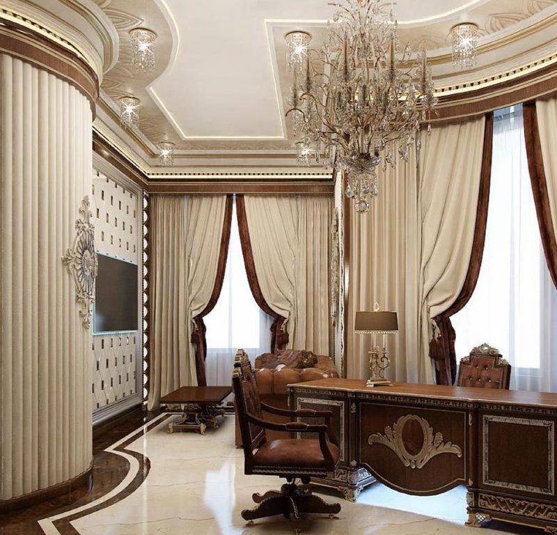 Rayures marron sur les rideaux beiges