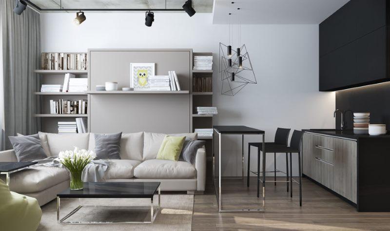Conception d'une cuisine-salon en gris