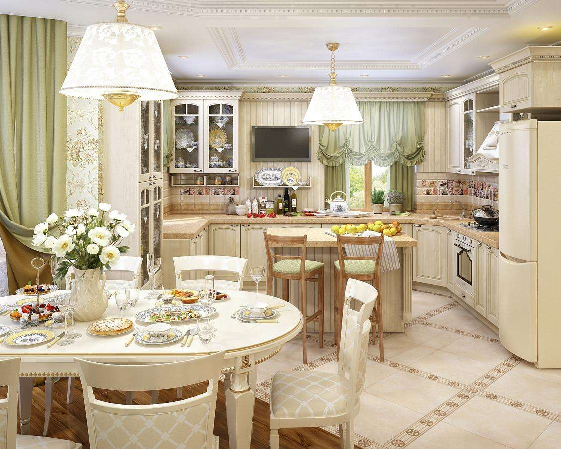 Design d'intérieur cuisine-salon dans un style rustique