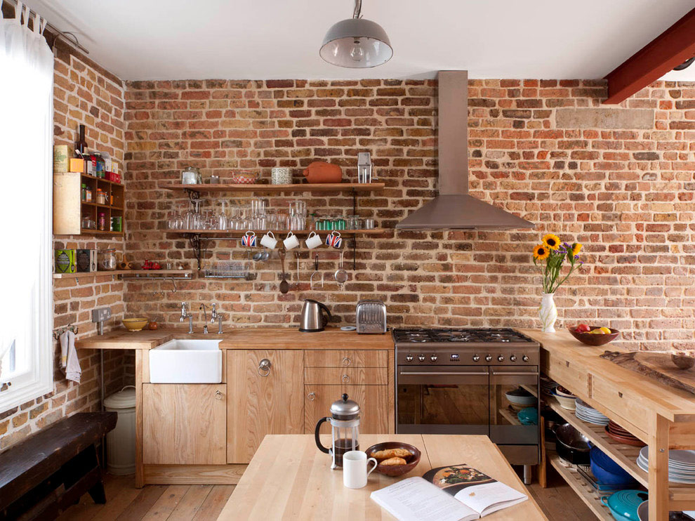 Téglafal konyha belső