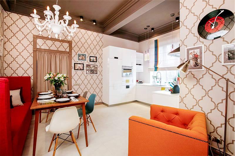 Conception d'un salon-cuisine de 18 mètres carrés en forme de U