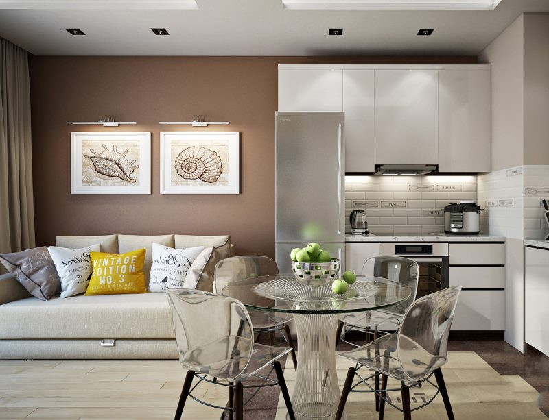 Mobilier transparent à l'intérieur de la cuisine-salon d'une superficie de 18 m²