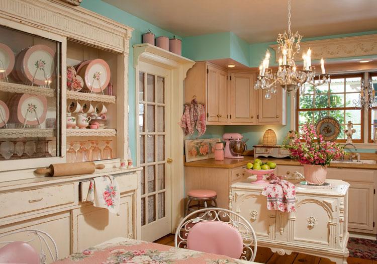 Cuisine de style provence rose