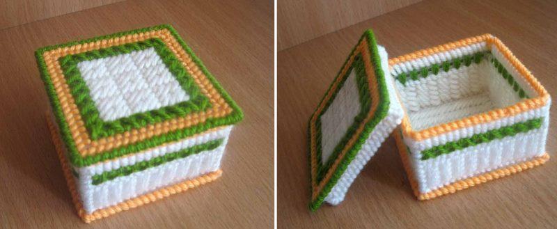 Pašdarināts kaste, kas izgatavota no plastmasas audekla un diega