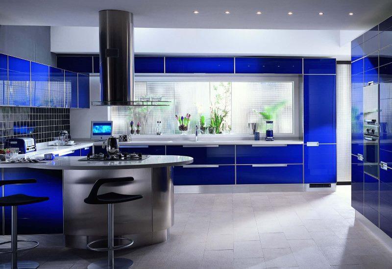 Design de cuisine bleu high tech