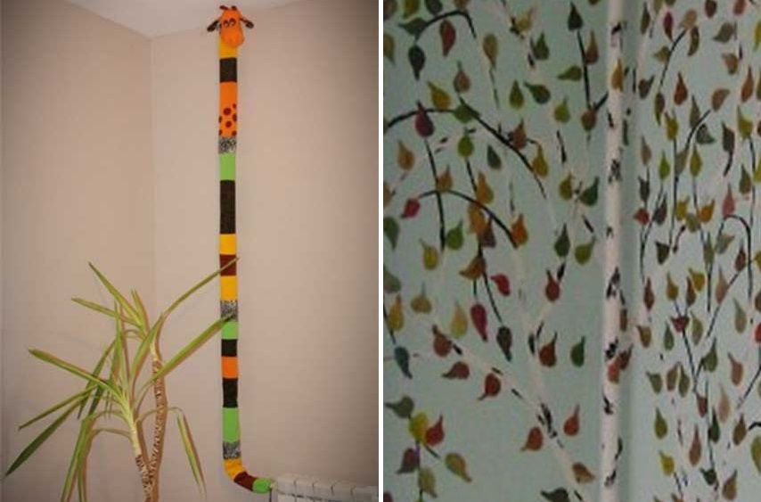 Decor of heating pipes in a children's room