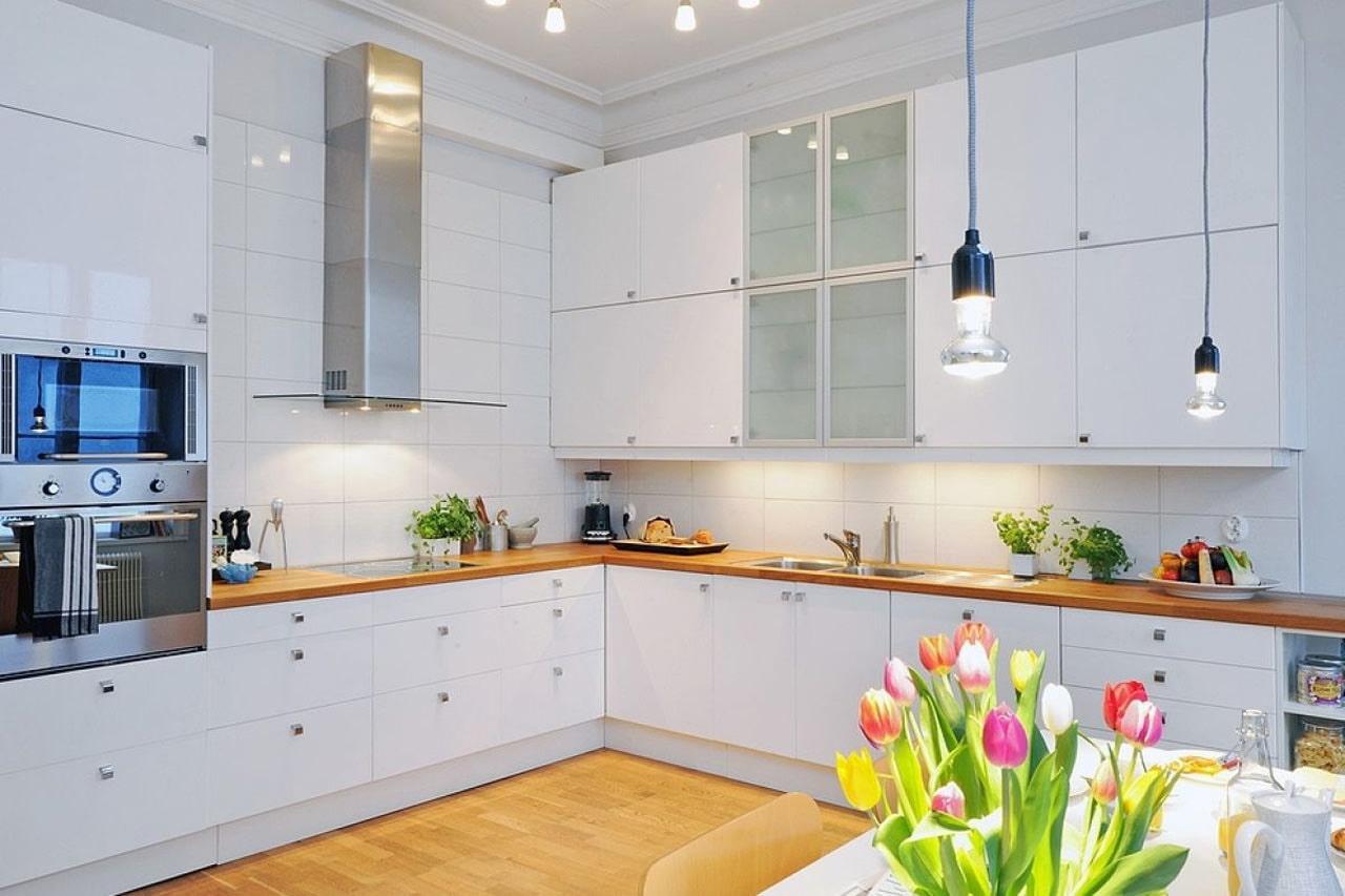 Organizacija rasvjete u kuhinji skandinavskog stila