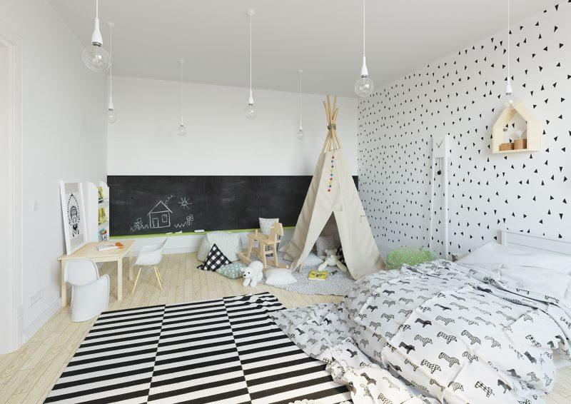 Interijer dječje sobe u seoskoj kući skandinavskog stila