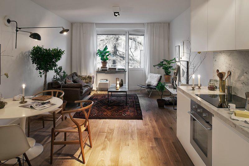 Kuhinja-dnevni boravak u skandinavskom stilu sa balkonom